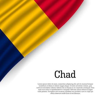 Agitant le drapeau du tchad sur blanc