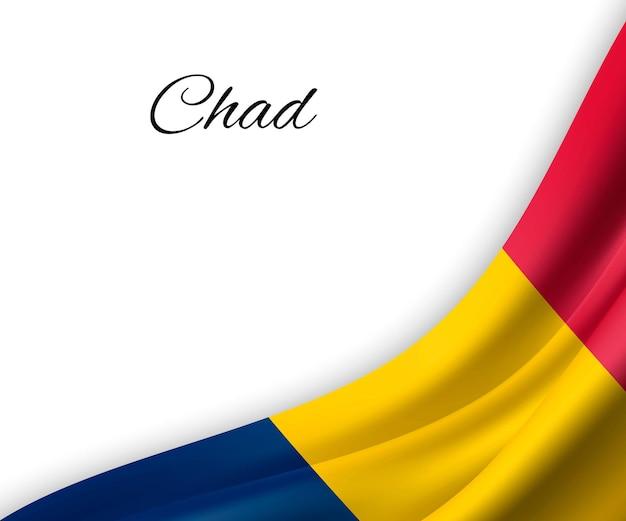 Agitant le drapeau du tchad sur fond blanc.