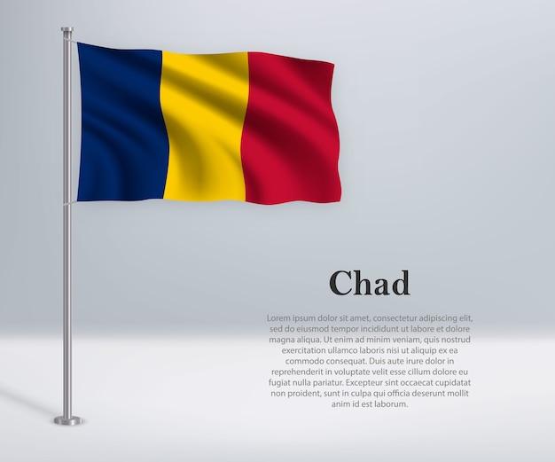 Agitant le drapeau du tchad sur mât