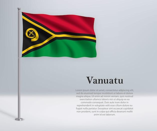 Agitant le drapeau du vanuatu sur mât