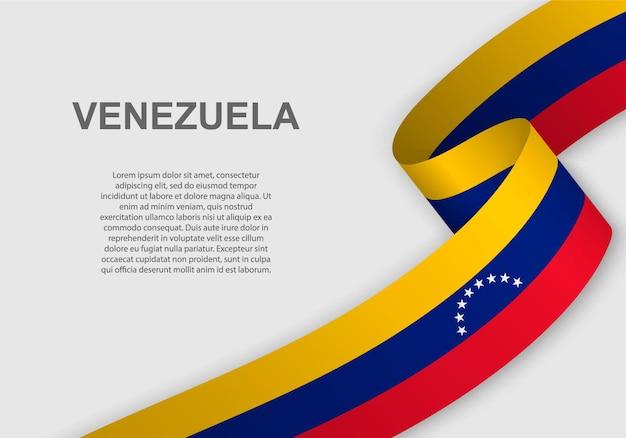 Agitant le drapeau du venezuela.