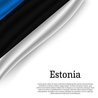 Agitant le drapeau de l'estonie sur blanc