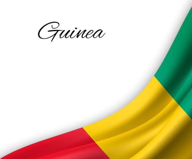 Agitant le drapeau de la guinée sur fond blanc.