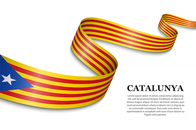 Agitant le drapeau de l'indépendantiste catalan