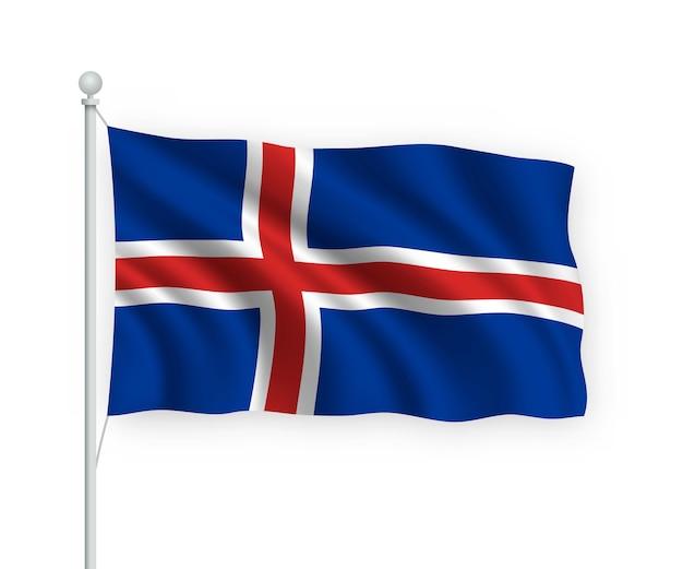 Agitant le drapeau islande sur mât isolé sur blanc