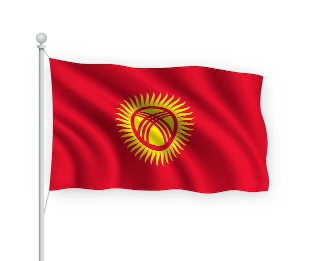 Agitant le drapeau kirghizistan sur mât isolé sur blanc