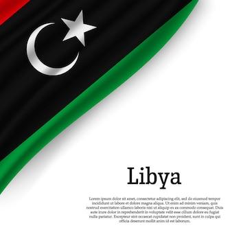 Agitant le drapeau de la libye sur blanc