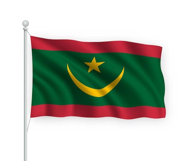 Agitant le drapeau mauritanie sur mât isolé sur blanc