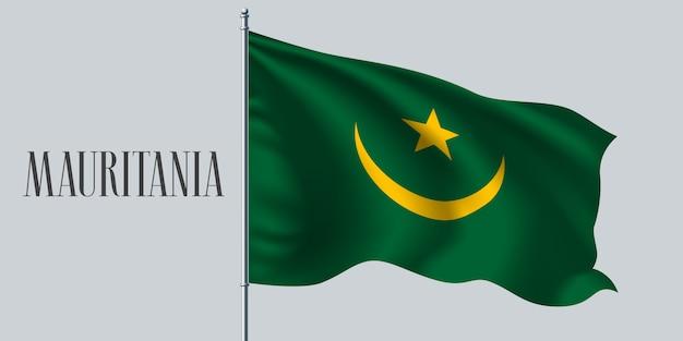 Agitant le drapeau de la mauritanie