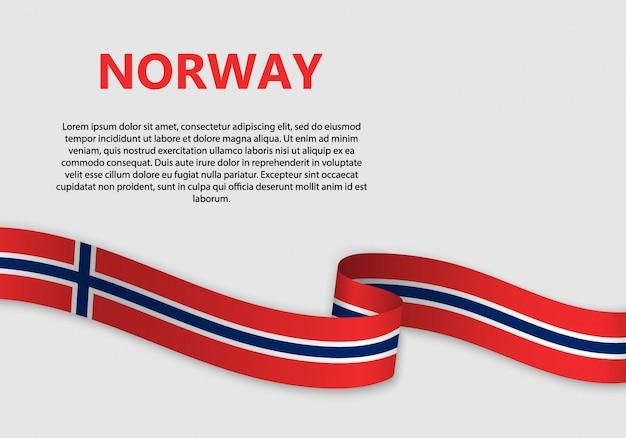 Agitant le drapeau de la norvège