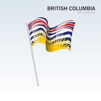 Agitant le drapeau des provinces de la colombie-britannique du canada isolé sur fond gris