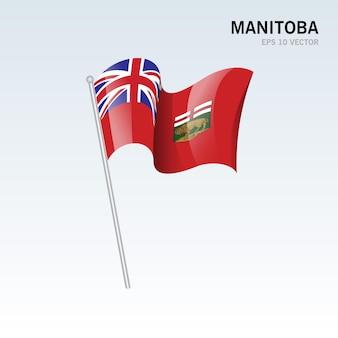 Agitant le drapeau des provinces du manitoba du canada isolé sur fond gris