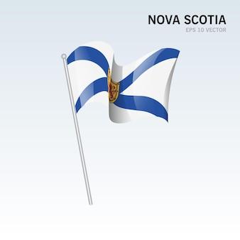 Agitant le drapeau des provinces de la nouvelle-écosse du canada isolé sur fond gris