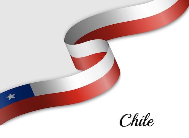 Agitant le drapeau ruban du chili