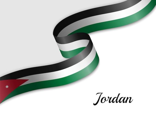 Agitant le drapeau ruban de la jordanie