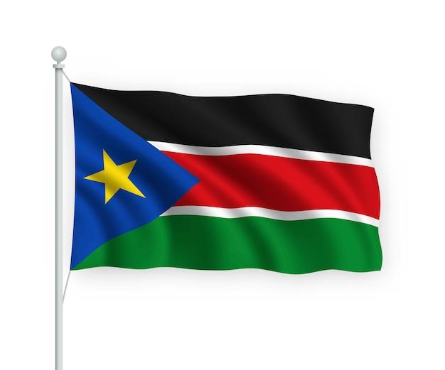 Agitant le drapeau soudan du sud sur mât isolé sur blanc
