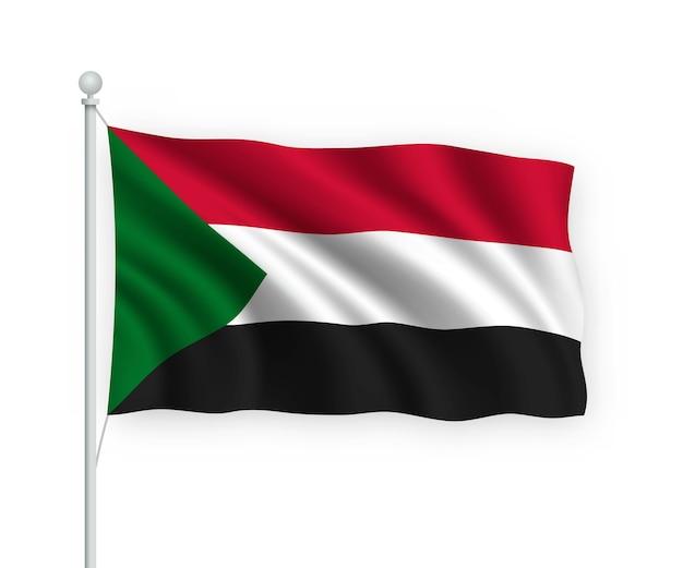 Agitant le drapeau soudan sur mât isolé sur blanc