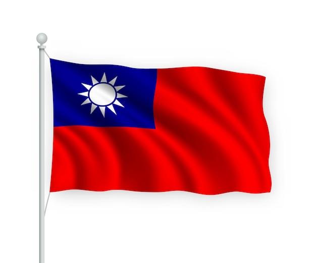 Agitant le drapeau taiwan sur mât isolé sur blanc