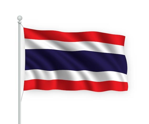 Agitant le drapeau thaïlande sur mât isolé sur blanc