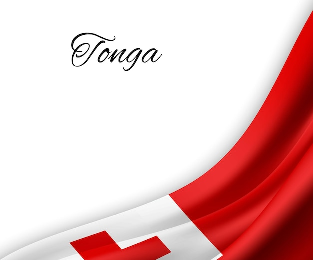 Agitant le drapeau des tonga sur fond blanc.