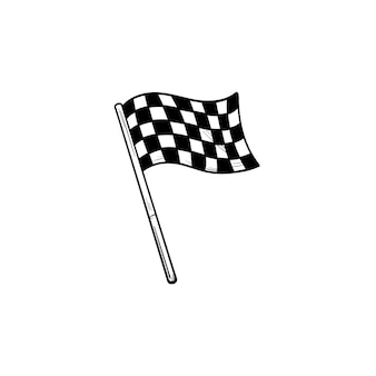 Agitant l'icône de doodle de contour dessiné à la main de drapeau à damier de course. finition de course, vainqueur de la compétition, concept de victoire