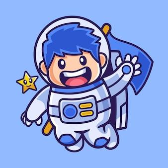 Agitant le personnage de dessin animé de garçon astronaute
