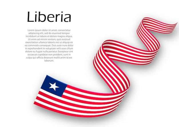 Agitant un ruban ou une bannière avec le drapeau du libéria. modèle pour la conception d'affiches de la fête de l'indépendance