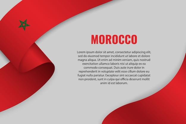 Agitant un ruban ou une bannière avec le drapeau du maroc
