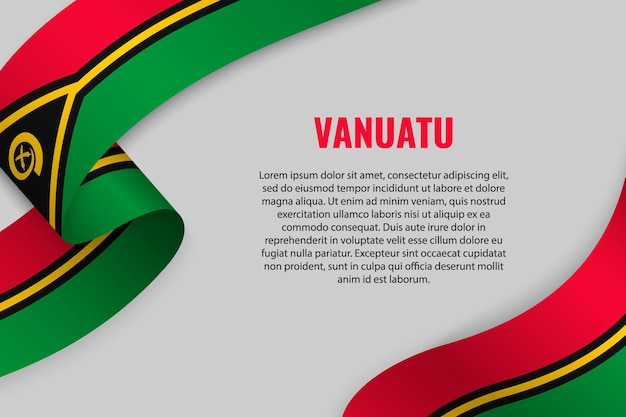 Agitant un ruban ou une bannière avec le drapeau du vanuatu