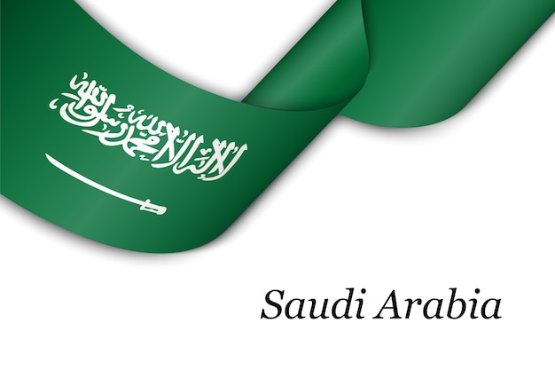 Agitant un ruban avec le drapeau de l'arabie saoudite.