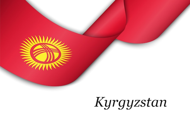 Agitant le ruban avec le drapeau du kirghizistan.