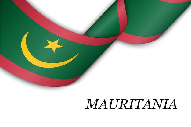 Agitant le ruban avec le drapeau de la mauritanie.