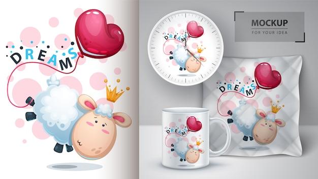 Agneau, à, montgolfière, illustration