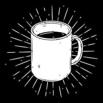 Agresser. illustration dessinée à la main avec tasse et sunburst.