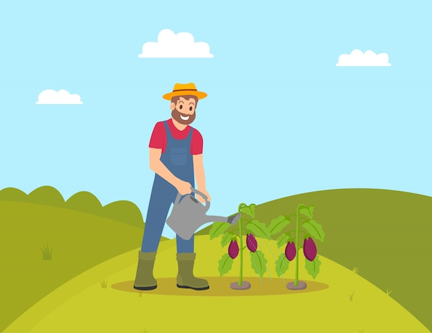Agriculteur avec arrosoir illustration