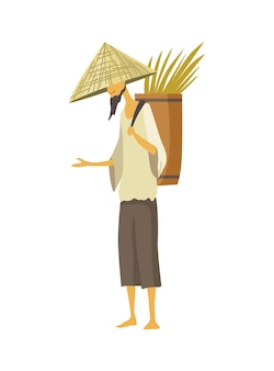 Agriculteur asiatique au chapeau conique de paille. culture rurale asiatique. agriculteur chinois transportant des rendements récolte de riz