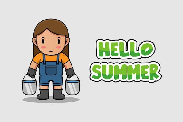Agriculteur avec bannière de voeux d'été bonjour