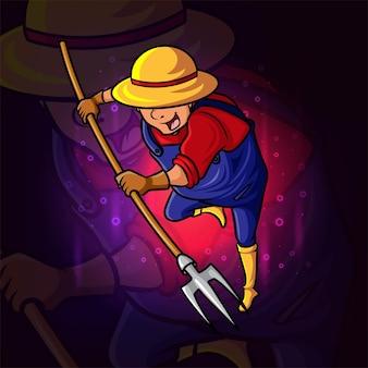L'agriculteur avec la conception du logo esport de la fourche terrestre de l'illustration