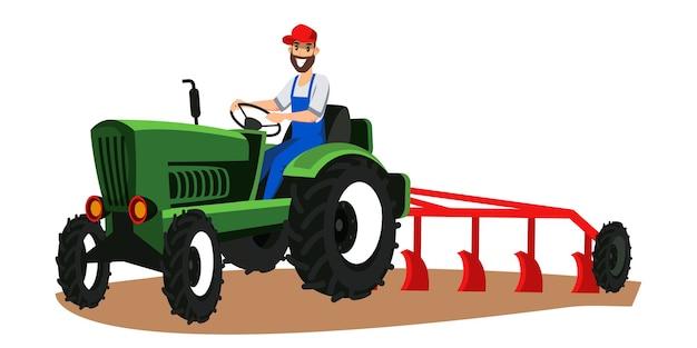Agriculteur conduisant un tracteur avec illustration de charrue, homme labourant le champ, utilisant des machines agricoles lourdes, personnage plat de travailleur des terres agricoles. technologie de culture horticole