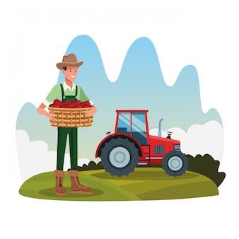 Agriculteur dans le paysage de dessins animés de ferme rurale