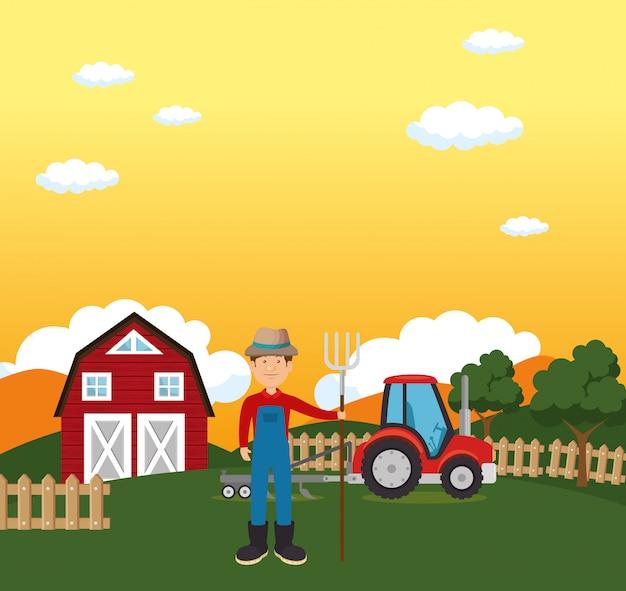 Agriculteur dans la scène de la ferme