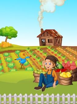 Agriculteur dans les terres agricoles rurales