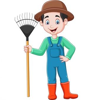 Agriculteur de dessin animé tenant un râteau