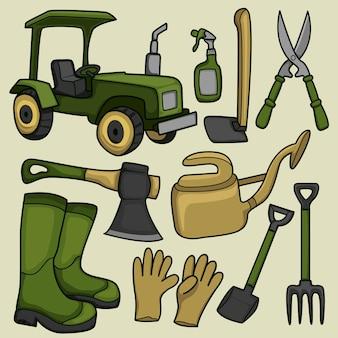Agriculteur dessiné à la main et coloriage de doodle de matériel agricole