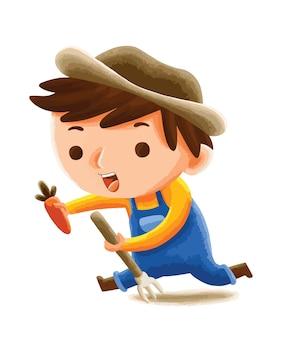 Agriculteur d'enfants dans un style de personnage mignon