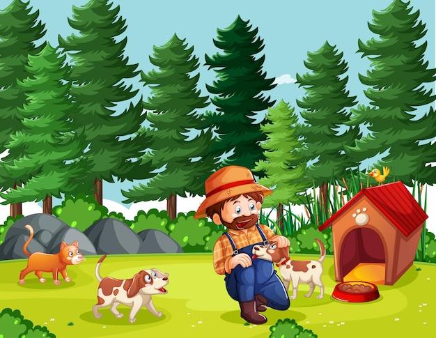 Agriculteur avec ferme en style cartoon