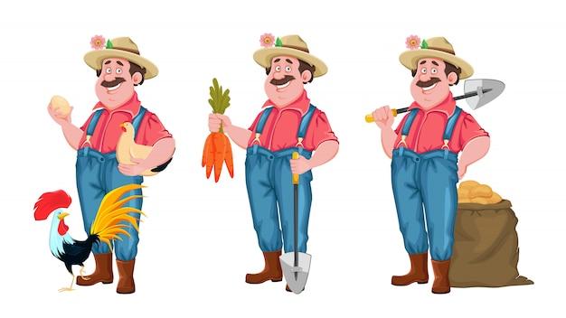 Agriculteur gai, ensemble de trois poses