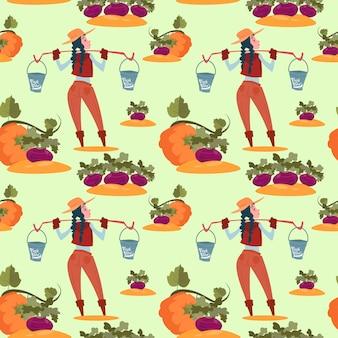 Agriculteur légumes frais récolte agriculture seamless pattern