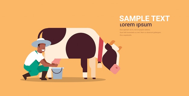 Agriculteur mâle traire la vache dans le seau ferme des animaux domestiques bovins lait frais concept plat fond orange horizontal copie espace