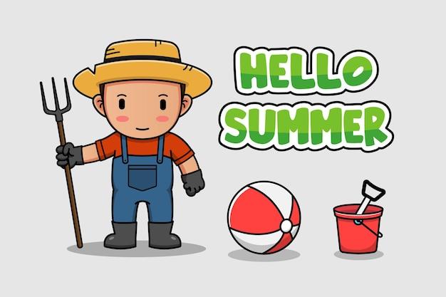 Agriculteur mignon avec bannière d'été bonjour